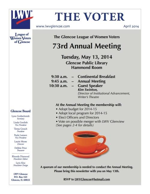 Glencoe LWV Annual Meeting Newsletter